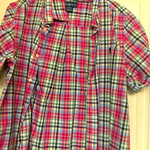 Boys plaid pole shirt sleeve shirt